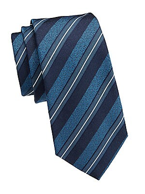"Image of Diagonal stripes adorn this tie in a jacquard finish. Silk Dry clean Made in Italy SIZE Width, 3"". Men Luxury Coll - Armani Neckwear. Emporio Armani. Color: Navy."