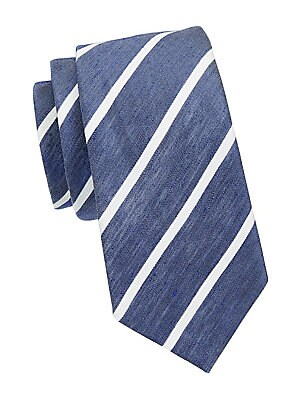"Image of Twill silk tie flaunts dimensional stripes. Silk Dry clean Made in Italy SIZE Width, 3"". Men Luxury Coll - Armani Neckwear. Giorgio Armani. Color: Blue."