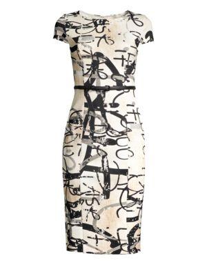 Alicali Graffiti-Print Short-Sleeve Sheath Dress in Beige