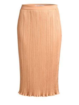 Emmy Plisse Pencil Skirt in Powder