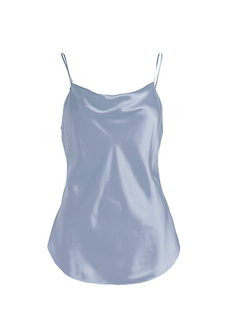 """Image of A sexy cami constructed in silk with a standout cowl neck. Cowl V-neck. Sleeveless. Pullover style. Spaghetti straps. High-low hem. Silk. Dry clean. Imported. SIZE & FIT. About 19.5"""" from shoulder to hem. Model shown is 5'10"""" (177cm) wearing US size Small"""