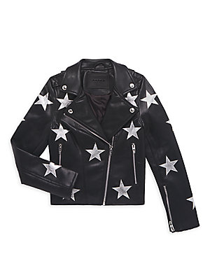 Image of A smattering of stars put a celestial spin on this delightful faux-leather moto jacket. Spread collar Long sleeves Zippered cuffs Asymmetric zip front Front zippered pockets Polyurethane/viscose Wipe clean Imported. Children's Wear - Contemporary Children