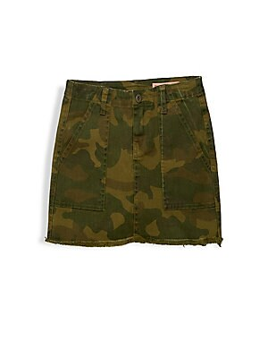 Image of Charming camouflage print mini skirt finished with raw hems. Belt loops Zip fly with button closure Front angled patch pockets Back buttoned flap pockets Raw hems Cotton/lyocell Machine wash Imported. Children's Wear - Contemporary Children > Saks Fifth A