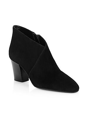 """Image of A crossover detail at the vamp is an elegant addition to this suede block heel bootie. Weatherproof suede upper Almond toe Side zip closure Polyester lining Leather sole Made in Italy SIZE Stacked block heel, about 2.5"""" (63.5mm). Women's Shoes - Cold Weat"""