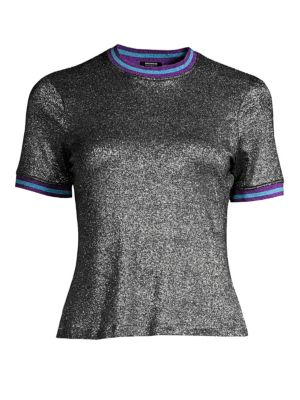 SPLENDID X MARGHERITA MISSONI Metallico Contrast Trimmed Tee in Black