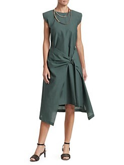 c696408a0ffbb8 Brunello Cucinelli. Sleeveless Gathered D-Ring Midi Dress