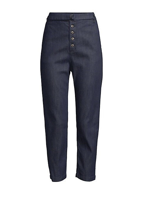 Image of Crafted with a utilitarian buckle belted waist and a button front, these denim chinos embody industrial glamour. Belt loops. Adjustable buckle belted waist. Button front. Side slash pockets. Back welt pockets. Tencel/cotton/elastane/elastomultiester. Mach