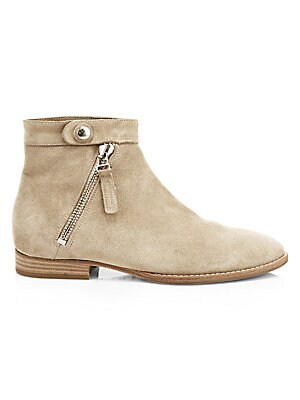 Image of An angled side zip and snap tab elevate this flat bootie crafted from weatherproof suede. Weatherproof suede upper Round toe Snap tab and angled side zip Fabric lining Rubber sole Made in Italy. Women's Shoes - Cold Weather. Aquatalia. Color: Ecru. Size: