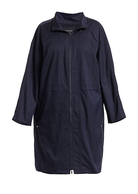 Image of Relaxed jacket in an easy care, technical fabrication. Stand collar. Dropped shoulders. Bracelet sleeves. Front zip closure. Side pockets. Drawstring hem. Lined. Elastomultiester fiber T400/polyester. Machine wash. Imported of Italian fabric. SIZE & FIT.