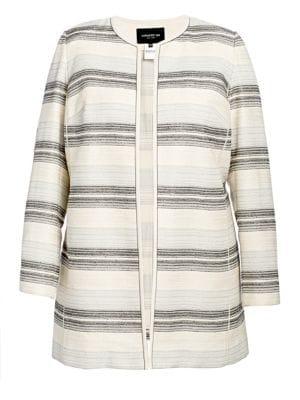 Lafayette 148 New York, Plus Size Pria Striped Open-Front Jacket