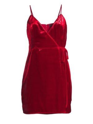 BCBGMAXAZRIA Shimmer Velvet Minidress in New Red