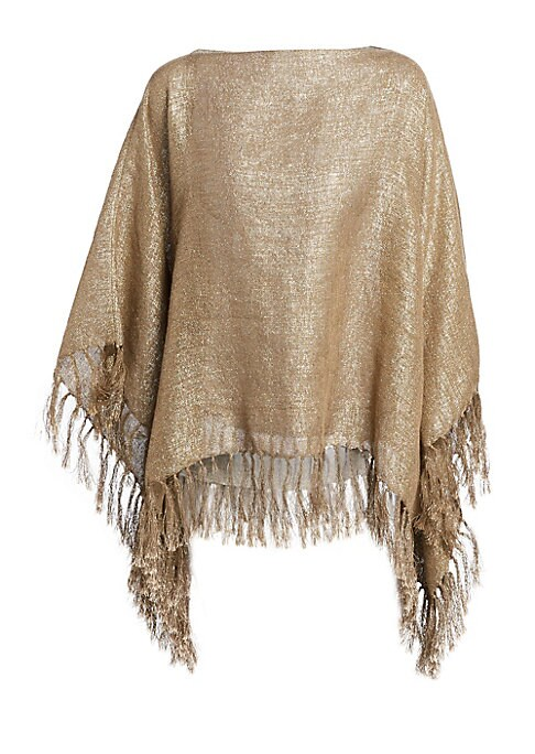 Image of A metallic finish injects this poncho with plenty of casual glamour. Fringed hems add to the movement of the piece. Boatneck. Three-quarter poncho sleeves. Pullover style. Fringe hem. Linen/polyester/metallic fibers/polyamide. Dry clean. Made in Italy. SI