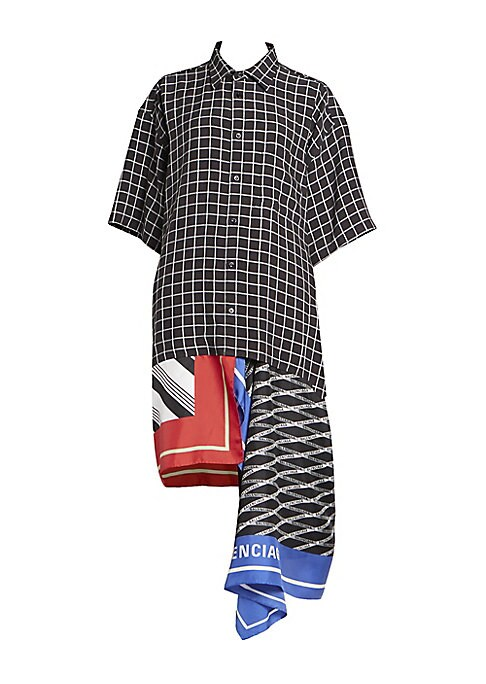 Image of A black-and-white graphic check is spliced into dueling scarf prints on this eyecatching silk-blend shirtdress. Wear as a dress, or team with culottes to enhance the asymmetric high-low hemline. Point collar. Elbow-length sleeves. Button front. Dropped sh