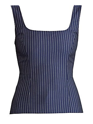 Image of Crafted in rich virgin wool, this striped tank embodies Ralph Lauren's commitment to luxury basics. Cut with a fitted silhouette, this piece works under a jacket or cardigan for a polished look. Scoopneck Sleeveless Princess seams Concealed side zip with