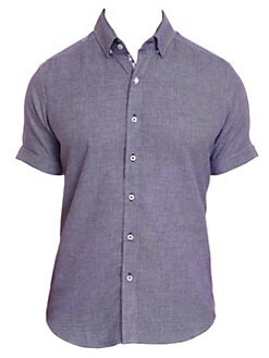 1fd8e5c9 Liam Houndstooth Short-Sleeve Button-Down Shirt TEAL. QUICK VIEW. Product  image