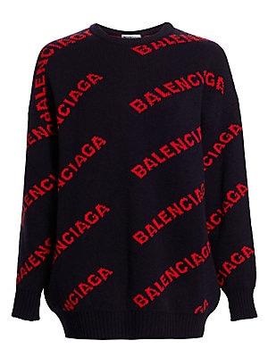 39fa78c0f9 Balenciaga - Intarsia Knit Logo Sweater - saks.com