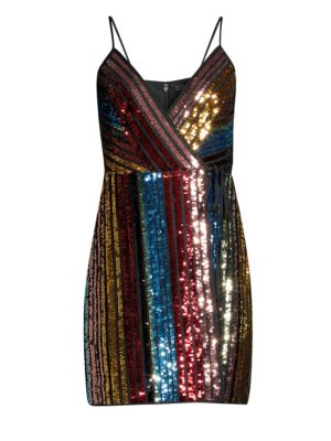 BCBGMAXAZRIA Sequin Stripe Cocktail Dress in Black Combo