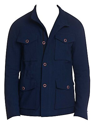 Image of Here's the timeless field jacket reimagined by Robert Graham. Beautifully tailored of cotton and linen with a hint of stretch, this unconstructed jacket features four button through bellows pockets on the front with a cinched inside drawstring waist for a