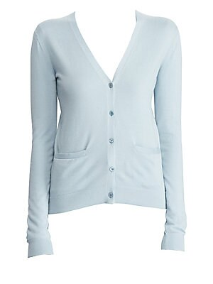 Image of Crafted in plush cashmere with a ribbed finish, this cardigan embodies Ralph Lauren's commitment to luxury basics. Cut with a fitted silhouette, this essential is the perfect off-duty layer to take you from errands to brunch. V-neck Long sleeves Button fr