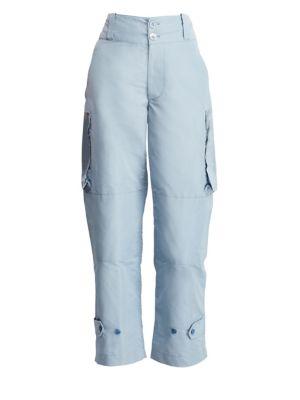 RALPH LAUREN Landry High-Rise Faille Cargo Pants in Blue