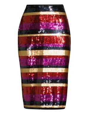 Trina Turk Sequin Striped Cava Skirt