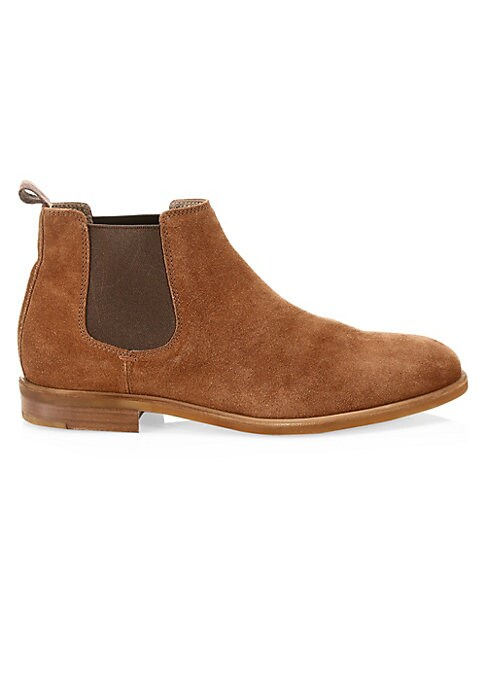 Image of Timeless Chelsea boots crafted in luxe Italian suede. Suede upper. Round toe. Slip-on style. Side elastic goring. Back pull tab. Leather lining and sole. Made in Italy.