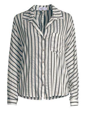 BELLA DAHL Striped Button-Down Blouse in Black White
