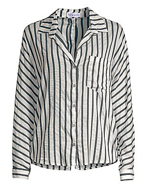 Image of A striped silky blouse enhanced with back button detailing finishing in a slit. Point collar Long sleeves Concealed button placket Button barrel cuffs Chest patch pocket Back button detail Split shirttail hem Viscose/polyester/lurex Machine wash Made in U