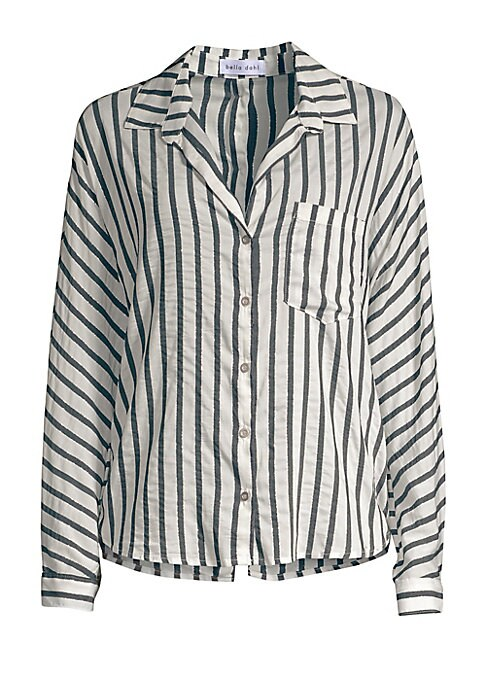 Image of A striped silky blouse enhanced with back button detailing finishing in a slit. Point collar. Long sleeves. Concealed button placket. Button barrel cuffs. Chest patch pocket. Back button detail. Split shirttail hem. Viscose/polyester/lurex. Machine wash.