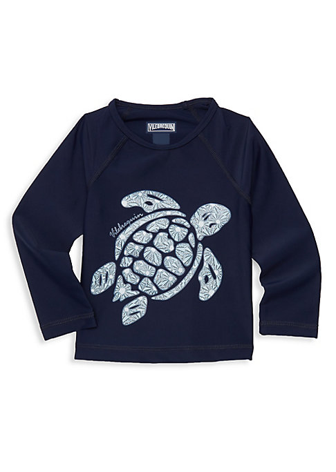 Image of Bold graphic turtle and logo elevates this rash guard. Roundneck. Long sleeves. Pullover style. Elastane/polyamide. Hand wash. Imported.