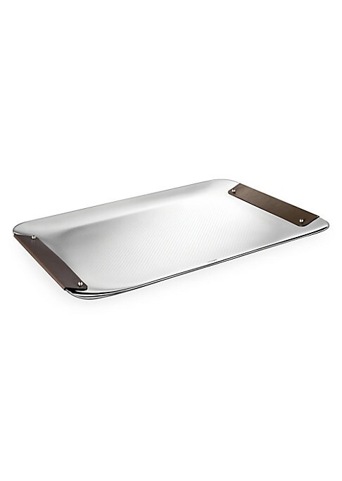 """Image of From the Collection Club collection. Decorative engraved tray with leather handles. Stainless steel. Leather. Imported. SPECIFICATIONS.18""""W x 12""""L."""