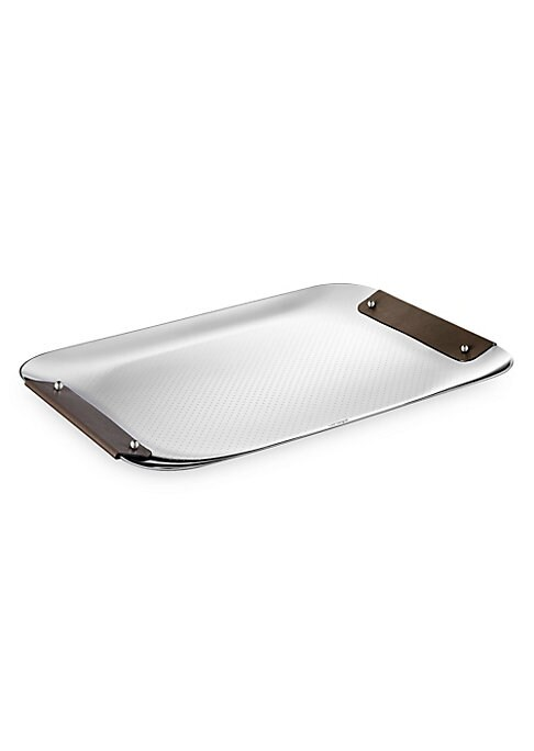 """Image of From the Collection Club collection. Decorative engraved tray with leather handles. Stainless steel. Leather. Imported. SPECIFICATIONS.12""""W x 9""""L."""