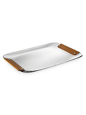 Image of From the Collection Club collection. Decorative engraved tray with leather handles. Stainless steel Leather Imported SPECIFICATIONS 12W x 9L. Gifts - Tabletop. Christofle. Color: Camel.
