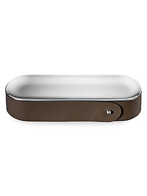 Image of From the Collection Club collection. Calfskin and wood pencil box with multifunctional mirror-polished lid. Stainless steel Leather Imported SPECIFICATIONS 9W x 2H x 3D. Gifts - Tabletop. Christofle.