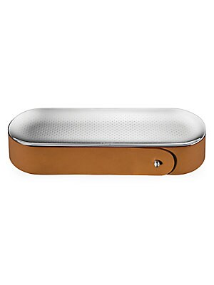 Image of From the Collection Club collection. Calfskin and wood pencil box with multifunctional mirror-polished lid. Stainless steel Leather Imported SPECIFICATIONS 9W x 2H x 3D. Gifts - Tabletop. Christofle. Color: Camel.
