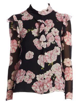 GIAMBATTISTA VALLI Long-Sleeve Ruffled-Trim Floral-Print Silk Blouse in Black Peony Rose