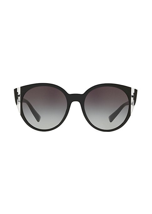 Image of Modern brand name sunglasses boast classic round frame. Acetate. Spot clean. Made in Italy. SIZE.55mm lens width.19mm bridge width.140mm temple length.