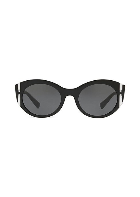 Image of Modern brand name sunglasses with classic round frame. Acetate. Spot clean. Made in Italy. SIZE.53mm lens width.21mm bridge width.140mm temple length.