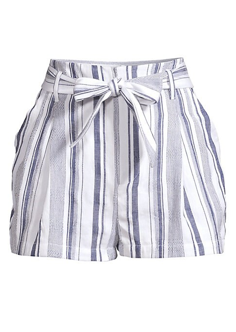 """Image of A feminine bow-tied belt defines these cute A-line shorts patterned in mixed stripes. Belt loops. Hook-and-bar closure with zip fly. Self-tie waist. Side slant pockets. Cotton. Dry clean. Imported. SIZE & FIT. Rise, about 14.5"""".Inseam, about 1.5"""".Leg open"""