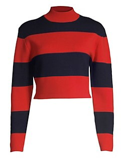 a127587bf9d7f Victor Glemaud. Striped Cropped Mockneck Sweater