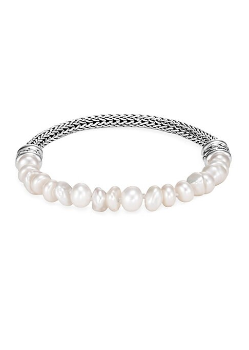 """Image of From the Chain Collection. Delicate pearls lend a romantic contrast to the artisanally coiled aspect of this bracelet. Sterling silver. White fresh water pearls, 6.5mm. Pusher clasp closure. Imported. SIZE. Diameter, 2.03"""".Length, 7.28""""."""