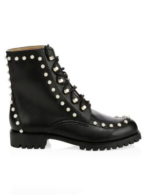 Halyn Pearl Studded Combat Boots by Joie