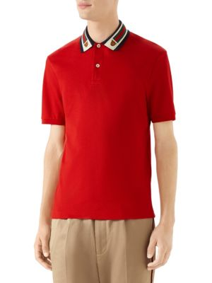 e813b0ee8 Gucci Cotton Polo With Web & Feline Head In Red | ModeSens