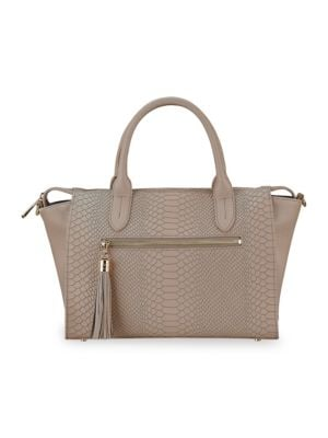 GIGI NEW YORK Grace Embossed Leather Satchel in Stone