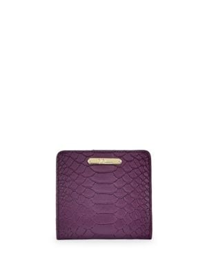 GIGI NEW YORK Mini Embossed Python Folding Wallet in Purple