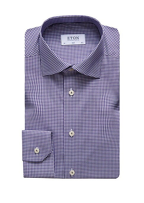 Image of From the QR Basic Styles Collection. Crease-resistant fabric elevates this classic button down check shirt in a modern slim fit. Moderate spread collar. Long sleeves. Button front. Convertible button cuff to french cuff. Back darted seams. Cotton. Machine