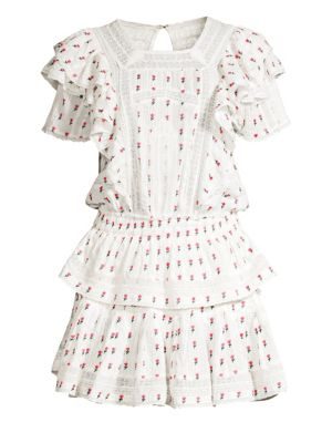 Marissa Floral Tiered Ruffle Eyelet A Line Dress by Love Shack Fancy