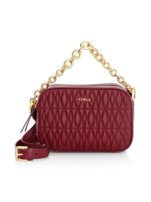 Mini Cometa Quilted Leather Crossbody Bag in Ciliegiad