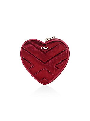 """Image of Sumptuously quilted coin case embodies a lovely heart silhouette. Top zip closure Goldtone hardware Leather/polyester Made in Italy SIZE 4.65""""W x 4.29""""H. Handbags - Contemporary Handbags > Saks Fifth Avenue. Furla. Color: Red."""
