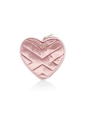 """Image of Sumptuously quilted coin case embodies a lovely heart silhouette. Top zip closure Goldtone hardware Leather/polyester Made in Italy SIZE 4.65""""W x 4.29""""H. Handbags - Contemporary Handbags > Saks Fifth Avenue. Furla. Color: Rosa."""